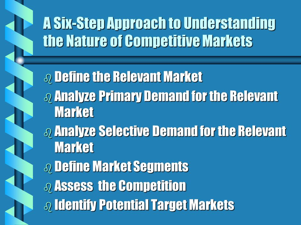 A Six-Step Approach to Understanding the Nature of Competitive Markets b Define the Relevant Market b Analyze Primary Demand for the Relevant Market b