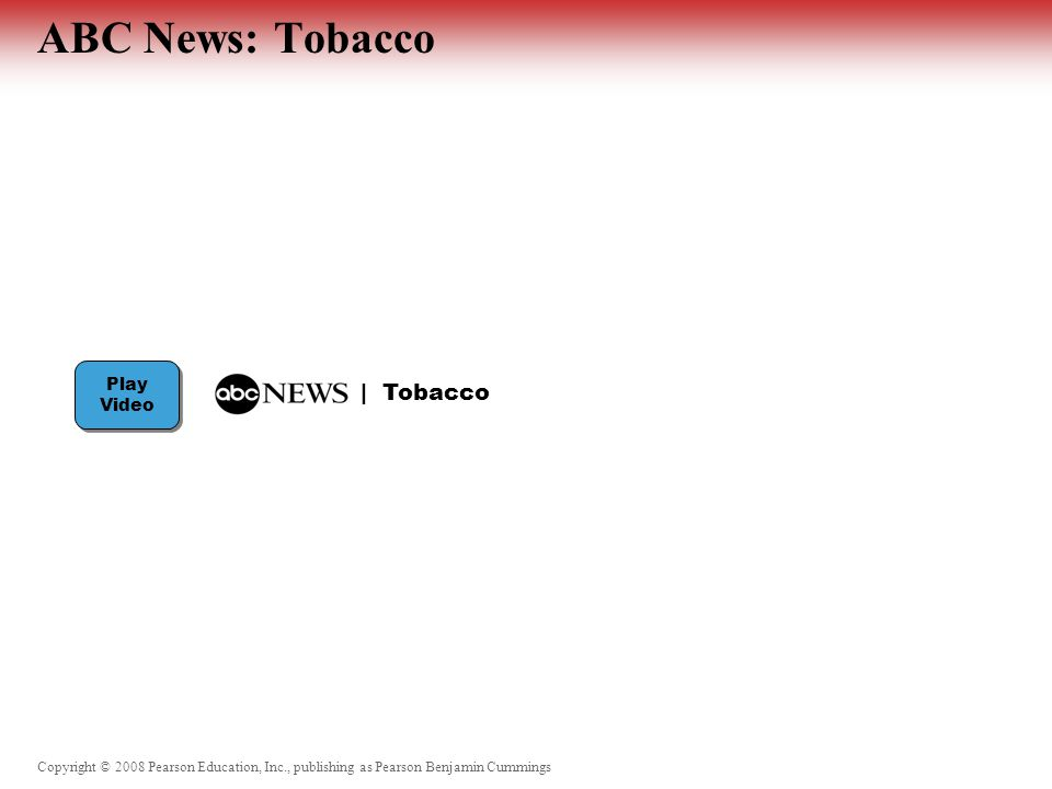 Copyright © 2008 Pearson Education, Inc., publishing as Pearson Benjamin Cummings ABC News: Tobacco Discussion Questions:  Why do you think that the federal government heavily regulates nicotine replacement products but not the delivery of cigarettes.
