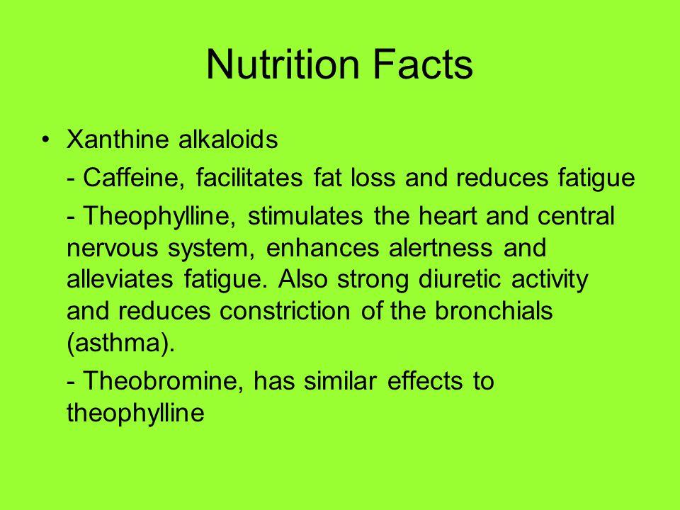 Composition Main chemicals found in Guarana Adenine, allantoin, alphacopaene, anethole, caffeine, carvacrol, caryophyllene, catechins, estragole, glucose, guanine, hypoxanthine, limonene, mucilage, nicotinic acid, proanthocyanidins, protein, resin, salicylic acid, starch, sucrose, tannic acid, tannins, theobromine, theophylline, timbonine, xanthine
