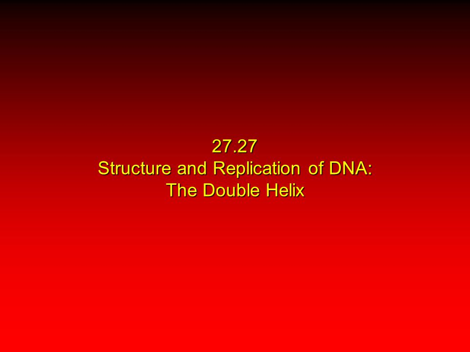 27.27 Structure and Replication of DNA: The Double Helix