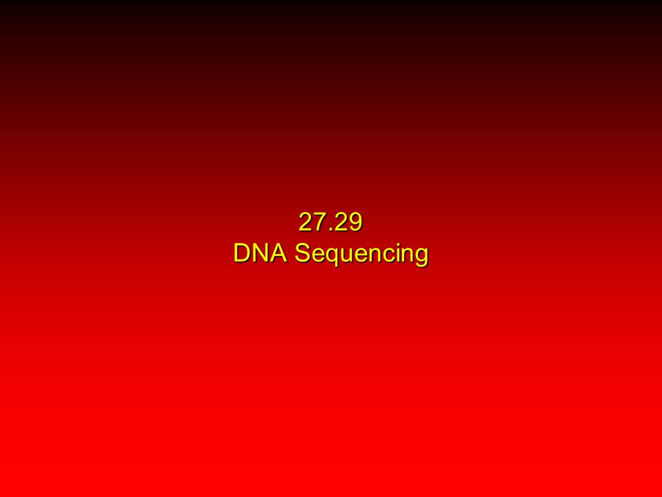 27.29 DNA Sequencing