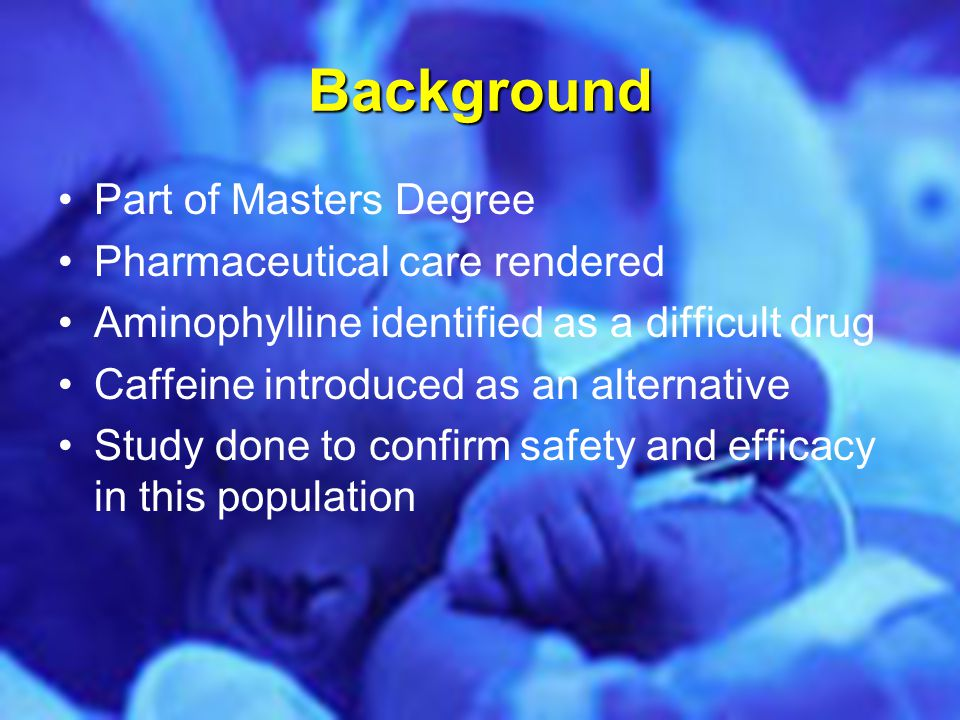 Background Part of Masters Degree Pharmaceutical care rendered Aminophylline identified as a difficult drug Caffeine introduced as an alternative Stud