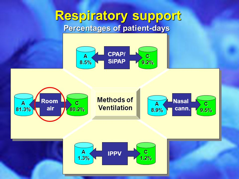 Respiratory support A8.5%C9.2% A1.3%C1.2% A81.3%C80.2% A8.9%C9.5% Methods of Ventilation CPAP/ SiPAP Room air IPPV Nasal cann. Percentages of patient-