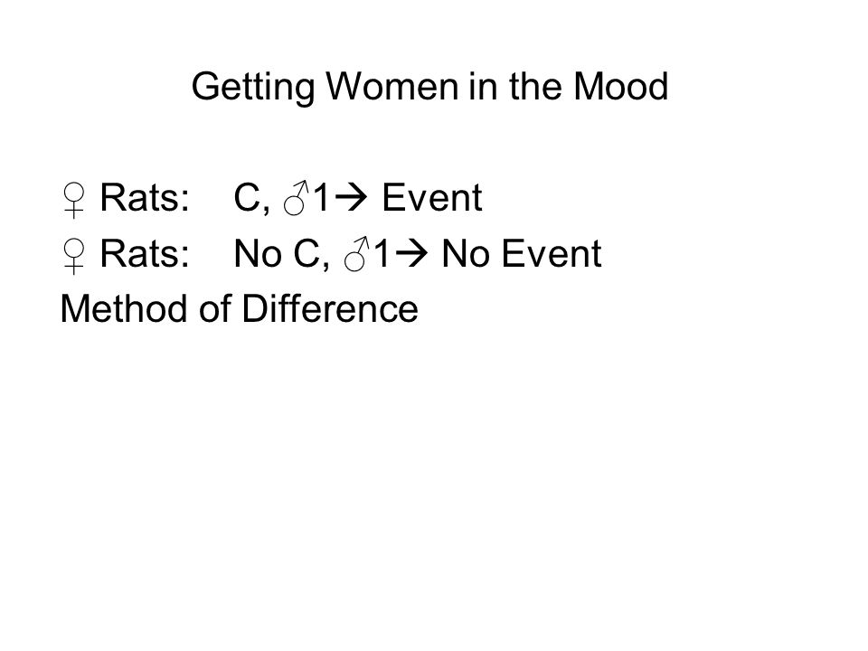Getting Women in the Mood ♀ Rats:C, ♂1  Event ♀ Rats:No C, ♂1  No Event Method of Difference