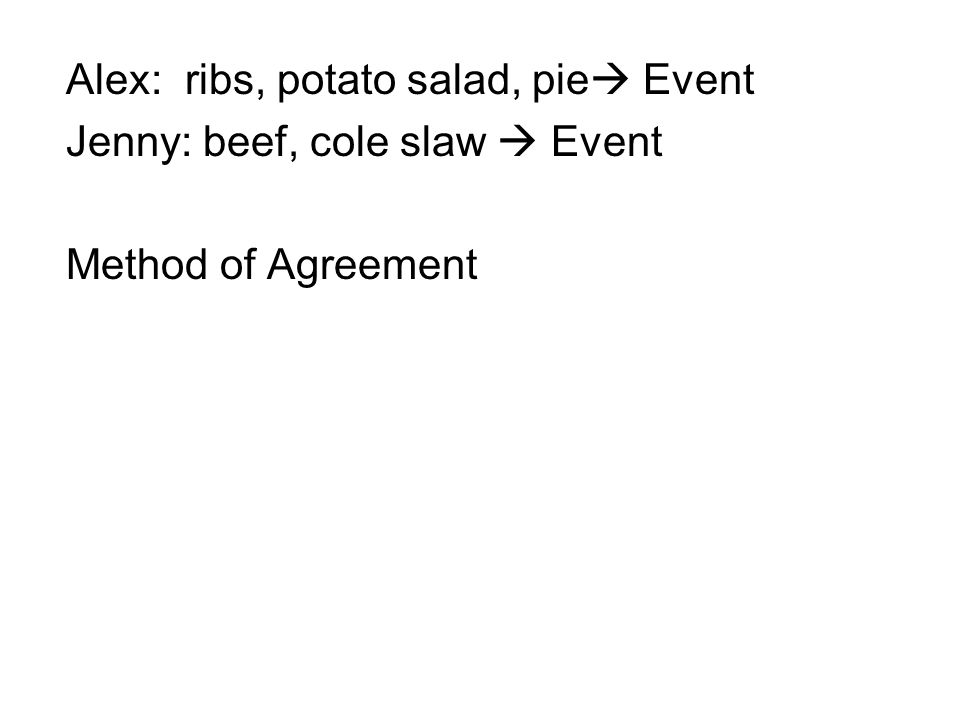Alex: ribs, potato salad, pie  Event Jenny: beef, cole slaw  Event Method of Agreement