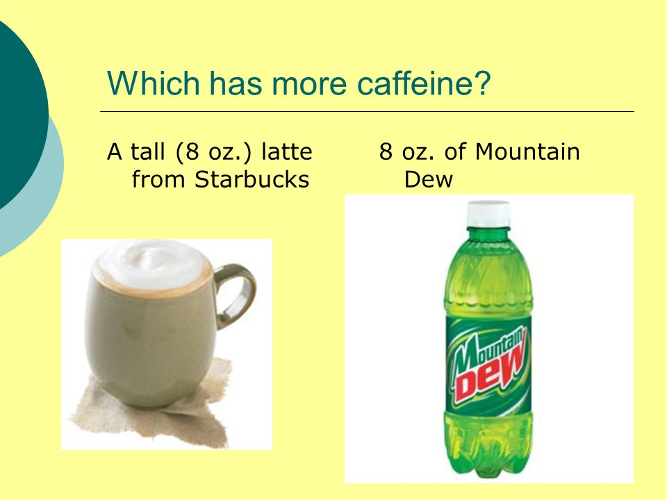 Which has more caffeine A tall (8 oz.) latte from Starbucks 8 oz. of Mountain Dew