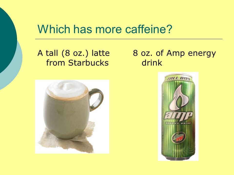 Which has more caffeine A tall (8 oz.) latte from Starbucks 8 oz. of Amp energy drink