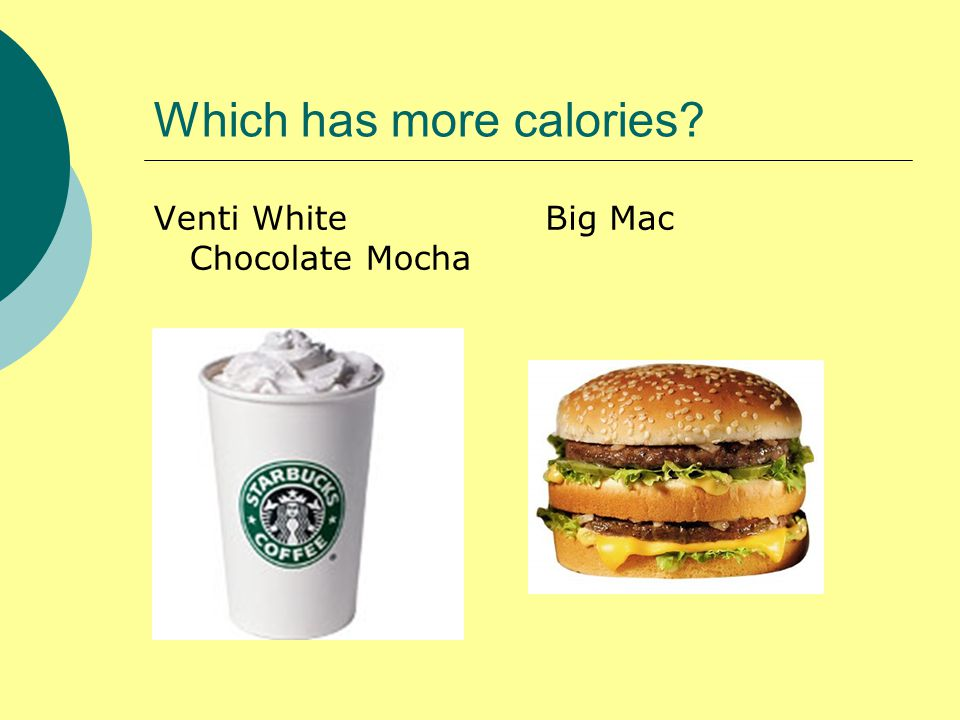 Which has more calories Venti White Chocolate Mocha Big Mac