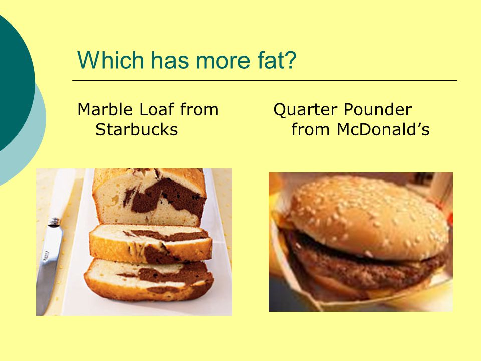 Which has more fat Marble Loaf from Starbucks Quarter Pounder from McDonald's