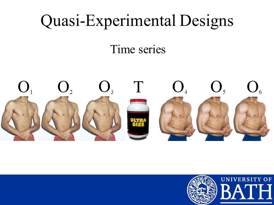 Quasi-Experimental Designs Time series T O1O1 O2O2 O3O3 O4O4 O5O5 O6O6