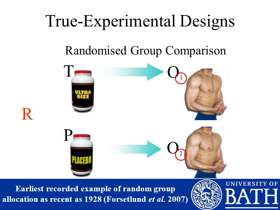 True-Experimental Designs Randomised Group Comparison T O1O1 P R O2O2 Earliest recorded example of random group allocation as recent as 1928 (Forsetlund et al.