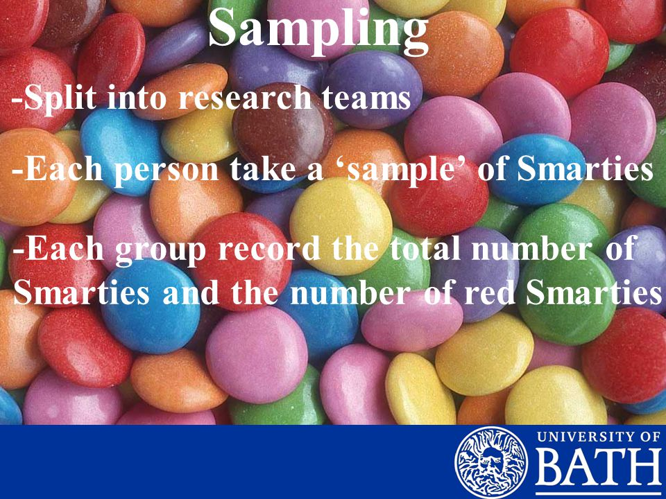 Sampling -Split into research teams -Each person take a 'sample' of Smarties -Each group record the total number of Smarties and the number of red Smarties