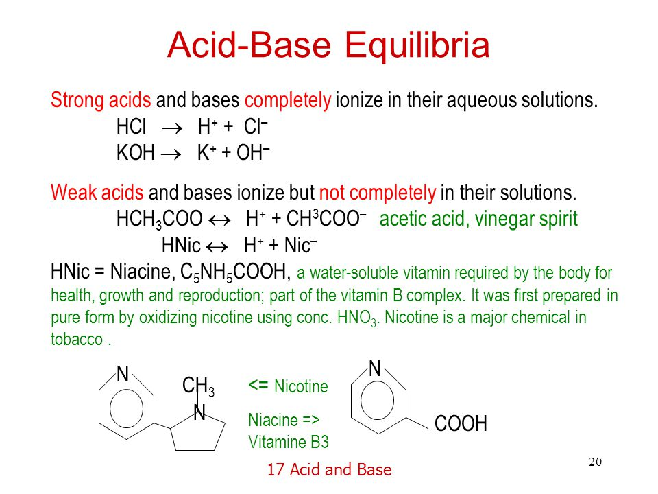 17 Acid and Base 20 Acid-Base Equilibria Strong acids and bases completely ionize in their aqueous solutions.