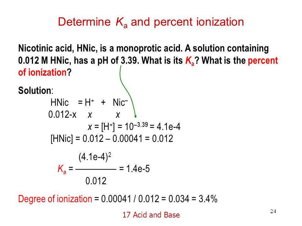 17 Acid and Base 24 Determine K a and percent ionization Nicotinic acid, HNic, is a monoprotic acid.