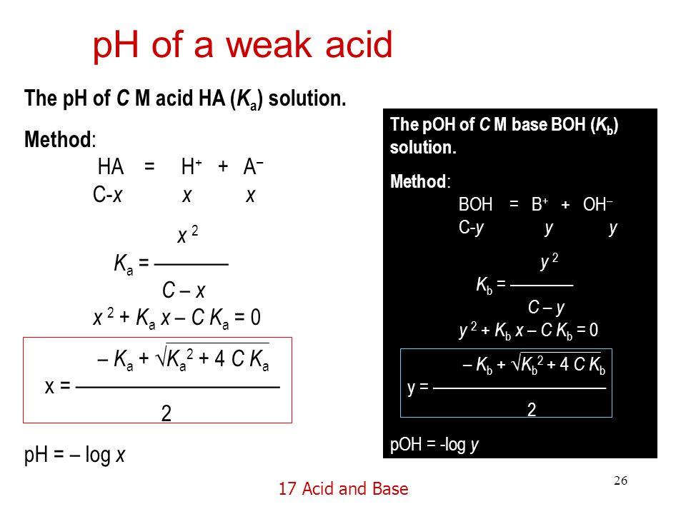 17 Acid and Base 26 pH of a weak acid The pH of C M acid HA ( K a ) solution.