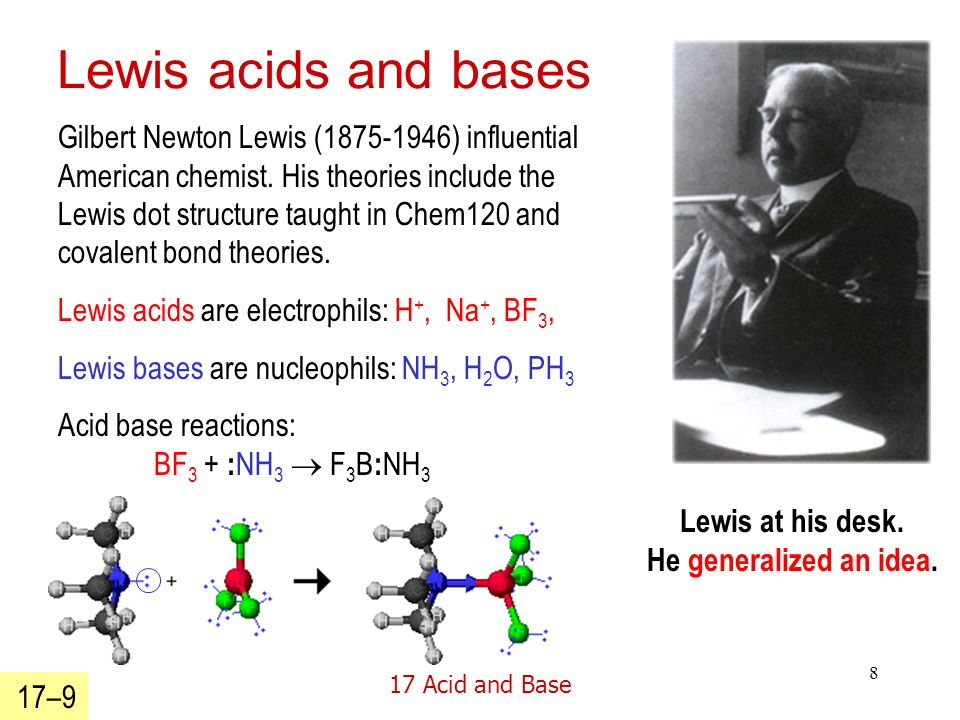 17 Acid and Base 8 Lewis acids and bases Gilbert Newton Lewis (1875-1946) influential American chemist.