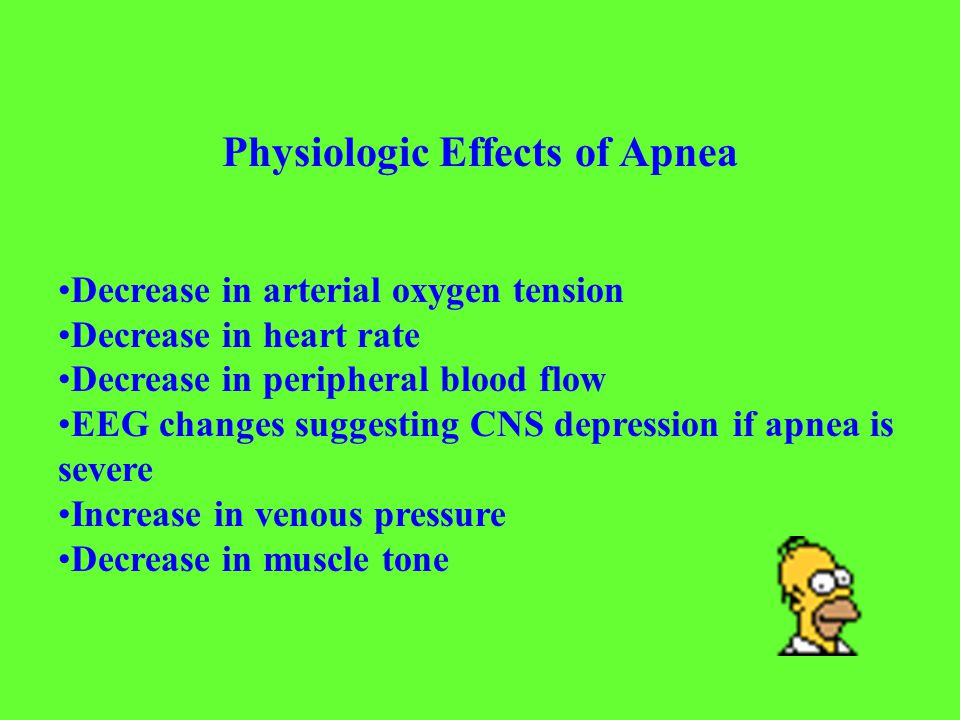 Abnormal or hyperactive reflexes - likely to result in central apnea Head s paradoxical reflex (gasp and apnea following lung inflation) Laryngeal receptors (taste buds) acting through superior laryngeal nerves Posterior pharyngeal reflex (apnea induced by deep repeated suctioning) Vascular receptors (apnea induced by large vessel distension) Decreased or inhibitory lower afferent input to the central respiratory center - likely to result in central apnea Sensory receptors (temperature receptors on face) Chemoreceptor immaturity Hypoxemia - likely to result in central or mixed apnea Immature ventilatory response to hypoxemia Presence of lung disease Decreased lung volume Patent ductus arteriosus Anemia Hypotension with decreased oxygen delivery to the brain