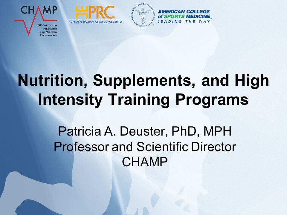 Objectives Present picture of dietary supplement use among active duty personnel Discuss concerns and red flags regarding dietary supplements Describe nutrition and dietary supplements information associated with extreme exercise programs Introduce new DoD classification system for dietary supplements