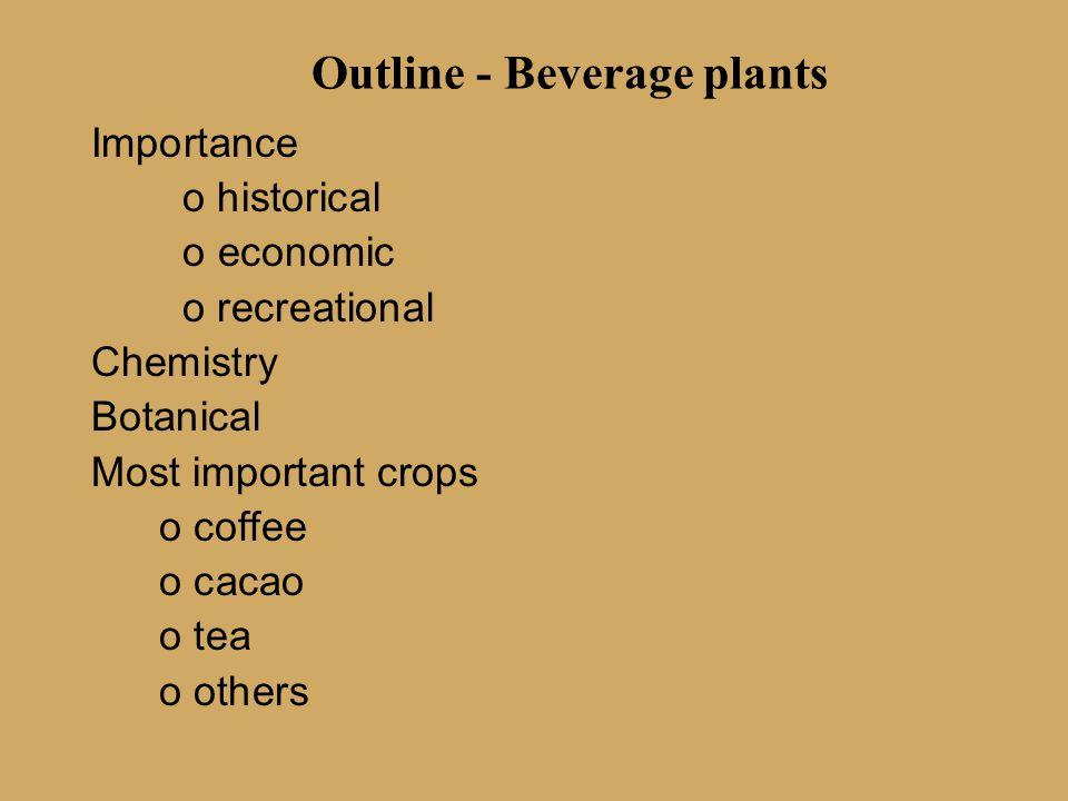 Outline - Beverage plants Importance o historical o economic o recreational Chemistry Botanical Most important crops o coffee o cacao o tea o others