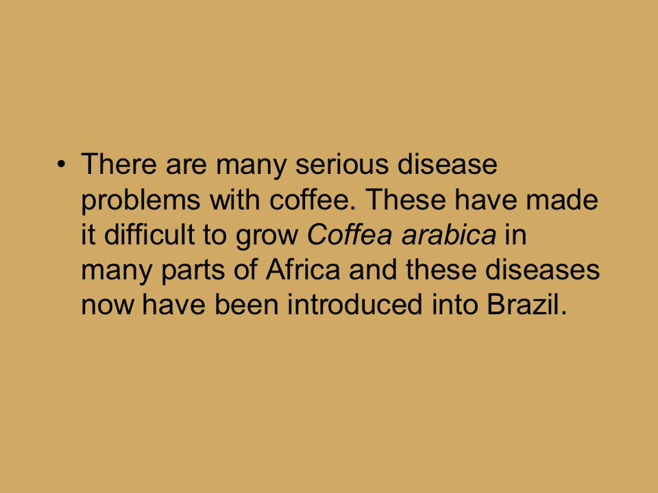 There are many serious disease problems with coffee. These have made it difficult to grow Coffea arabica in many parts of Africa and these diseases no