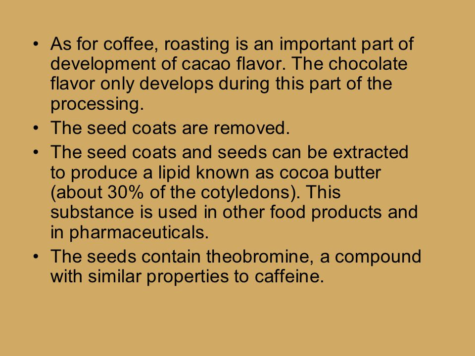 As for coffee, roasting is an important part of development of cacao flavor.