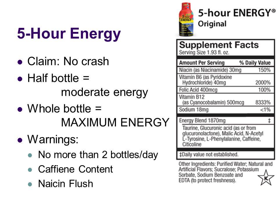 5-Hour Energy Claim: No crash Half bottle = moderate energy Whole bottle = MAXIMUM ENERGY Warnings: No more than 2 bottles/day Caffiene Content Naicin