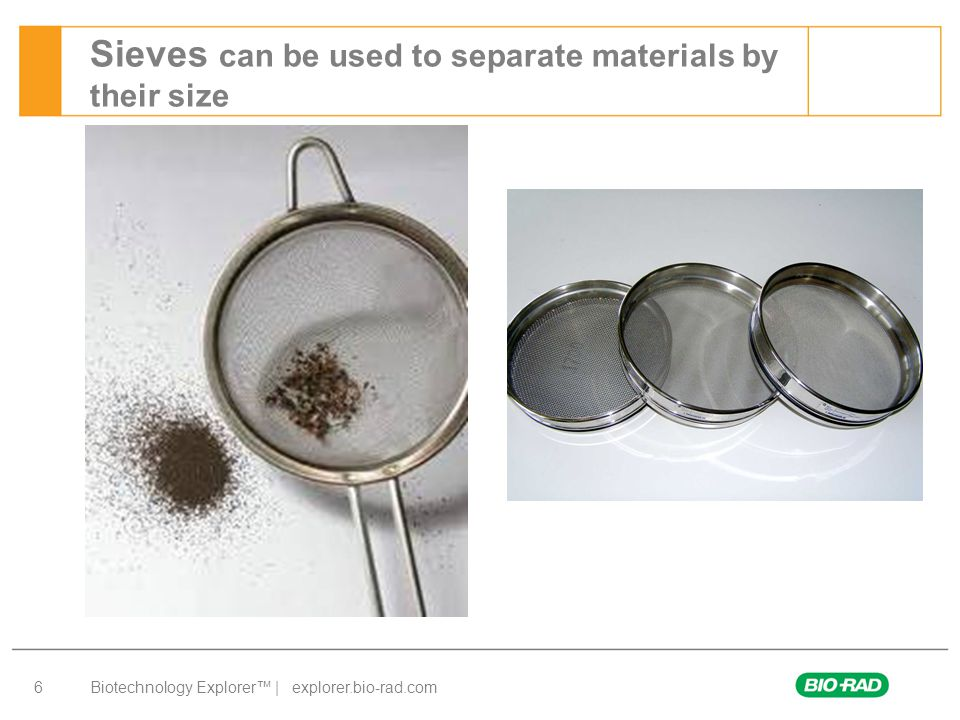 Biotechnology Explorer™ | explorer.bio-rad.com 6 Sieves can be used to separate materials by their size