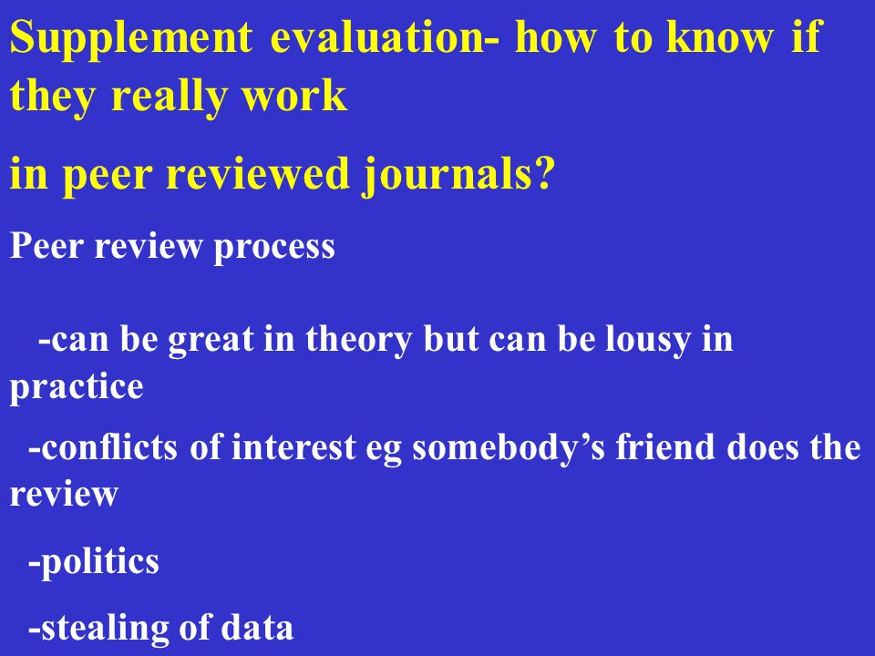 Supplement evaluation- how to know if they really work in peer reviewed journals.