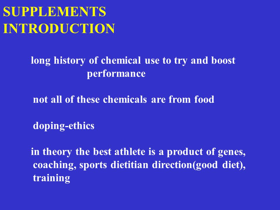 Criteria for supplements Are they safe, effective, legal and have effects superior to a proper diet.