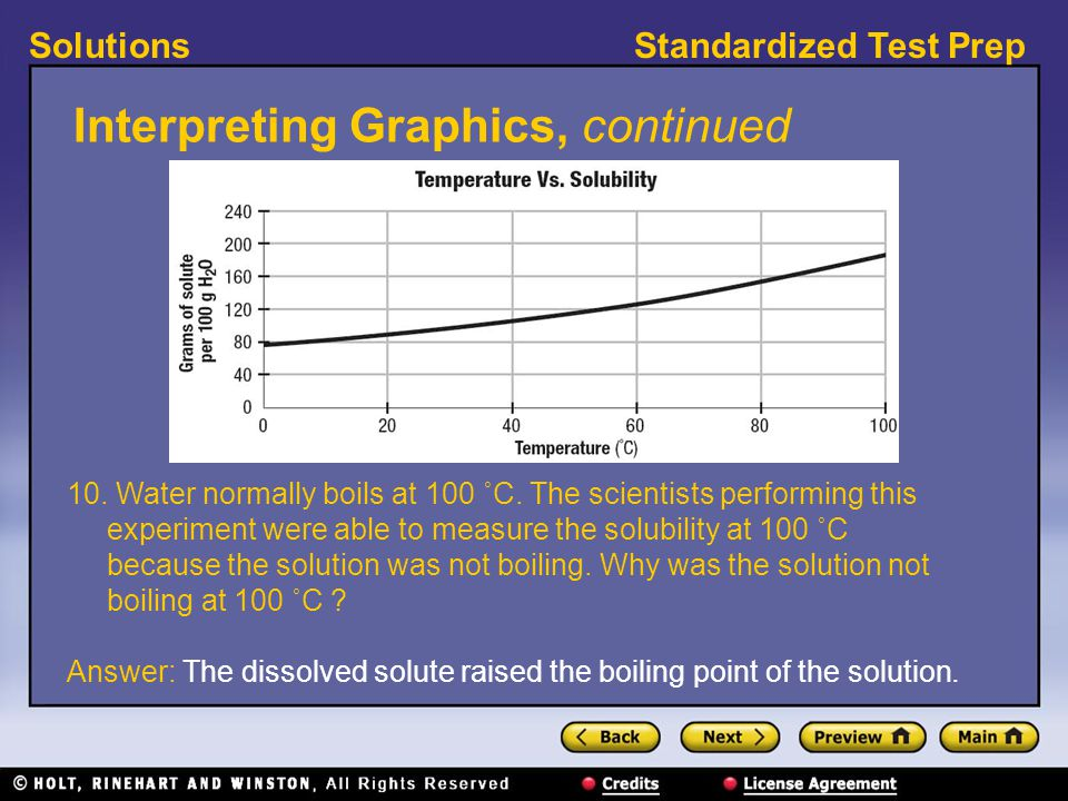 Standardized Test PrepSolutions Interpreting Graphics, continued 10. Water normally boils at 100 ˚C. The scientists performing this experiment were ab