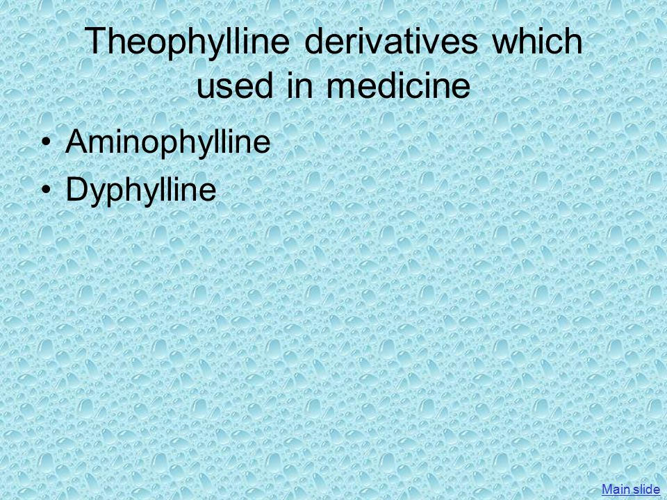 Theophylline Theotrim® Trima Tab. 100,200,300 mg Bronchophylline Tab. 150 mg Elixir 50 mg Glyphyllin® Rekah Tab. 250 mg Theotard ® CTS Theopharm ® JER