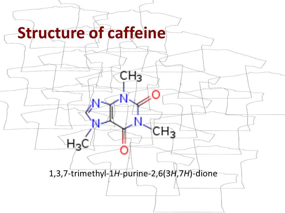 Structure of caffeine 1,3,7-trimethyl-1H-purine-2,6(3H,7H)-dione