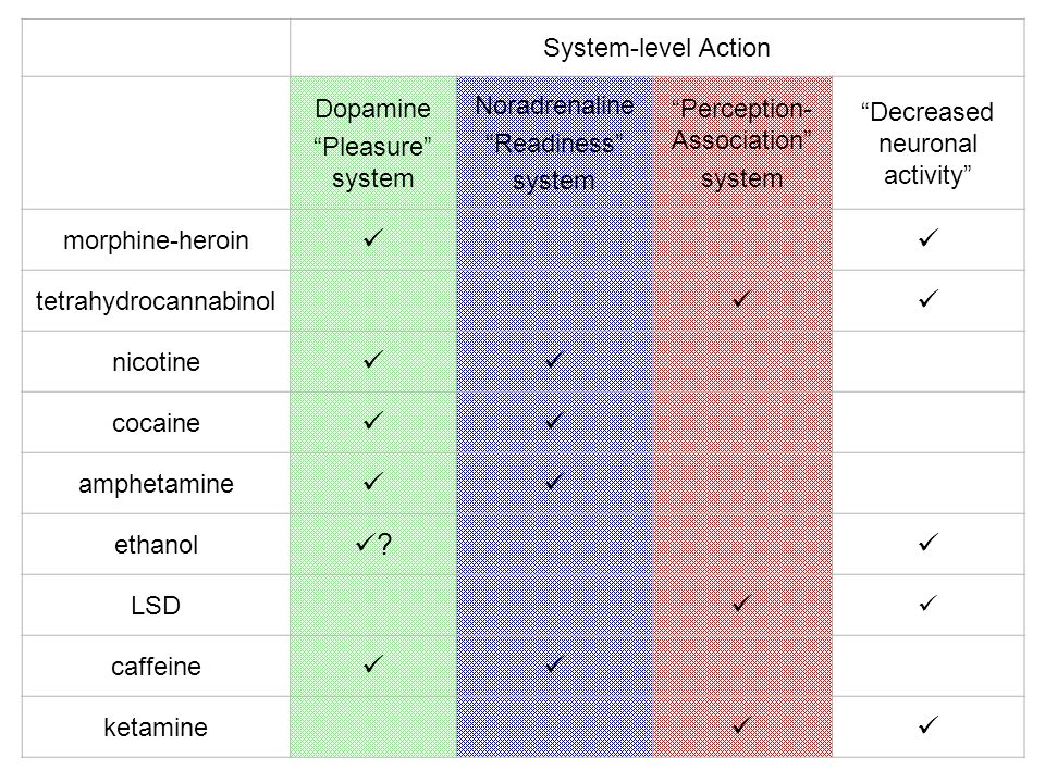 System-level Action Dopamine Pleasure system Noradrenaline Readiness system Perception- Association system Decreased neuronal activity morphine-heroin tetrahydrocannabinol nicotine cocaine amphetamine ethanol .