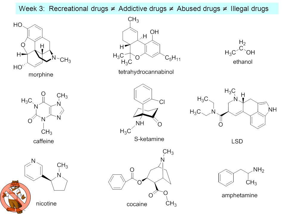 Week 3: Recreational drugs  Addictive drugs  Abused drugs  Illegal drugs