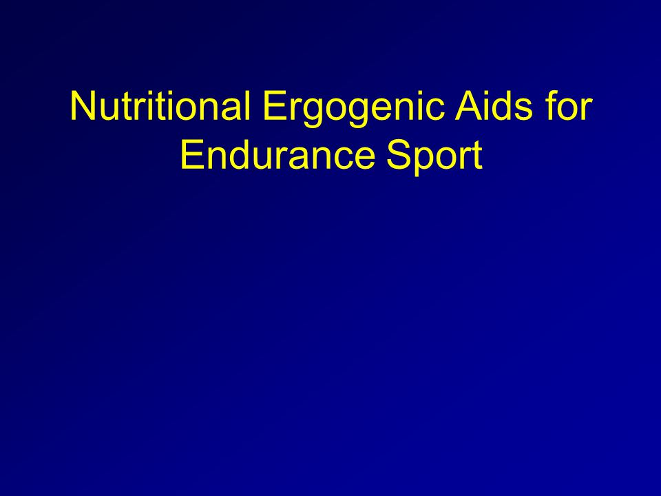Nutritional Ergogenic Aids for Endurance Sport