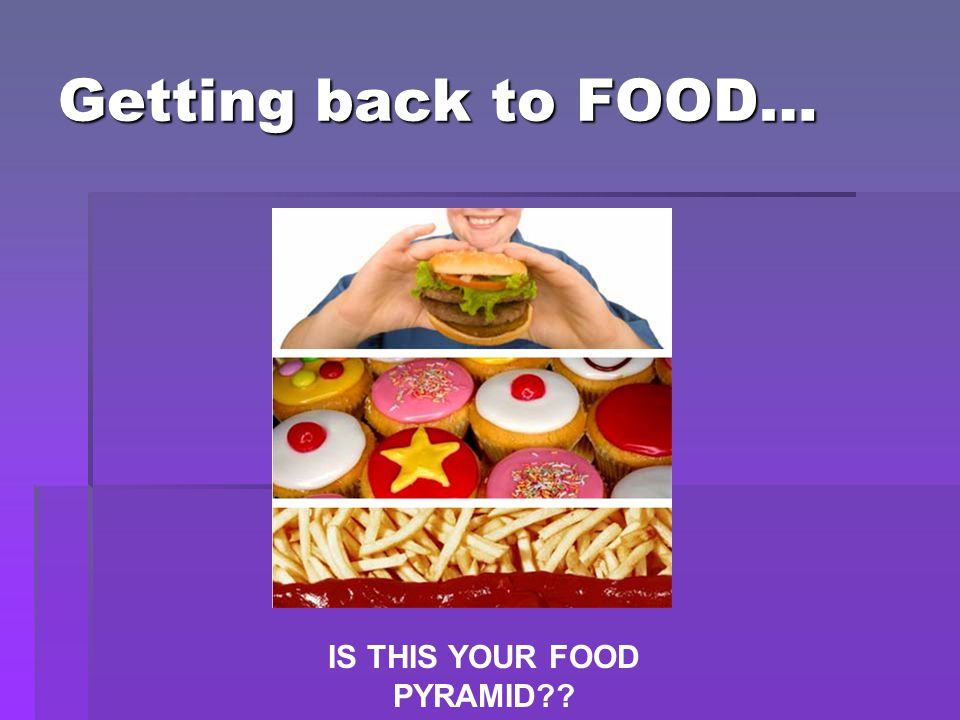 Getting back to FOOD… IS THIS YOUR FOOD PYRAMID