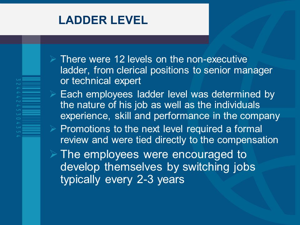 LADDER LEVEL  There were 12 levels on the non-executive ladder, from clerical positions to senior manager or technical expert  Each employees ladder