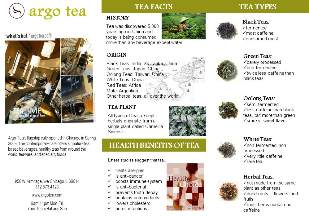TEA FACTS ORIGIN Black Teas: India, Sri Lanka, China Green Teas: Japan, China Oolong Teas: Taiwan, China White Teas: China Red Teas: Africa Mate: Argentina Other herbal teas: all over the world HISTORY Tea was discovered 5,000 years ago in China and today is being consumed more than any beverage except water.