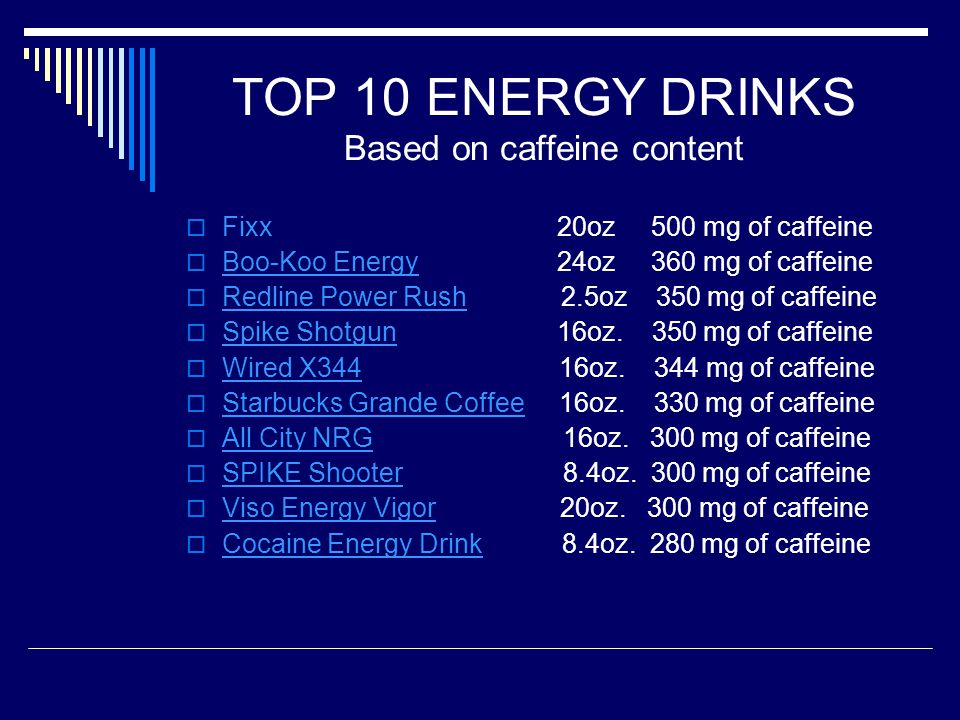 TOP 10 ENERGY DRINKS Based on caffeine content  Fixx 20oz 500 mg of caffeine  Boo-Koo Energy 24oz 360 mg of caffeine Boo-Koo Energy  Redline Power Rush 2.5oz 350 mg of caffeine Redline Power Rush  Spike Shotgun 16oz.