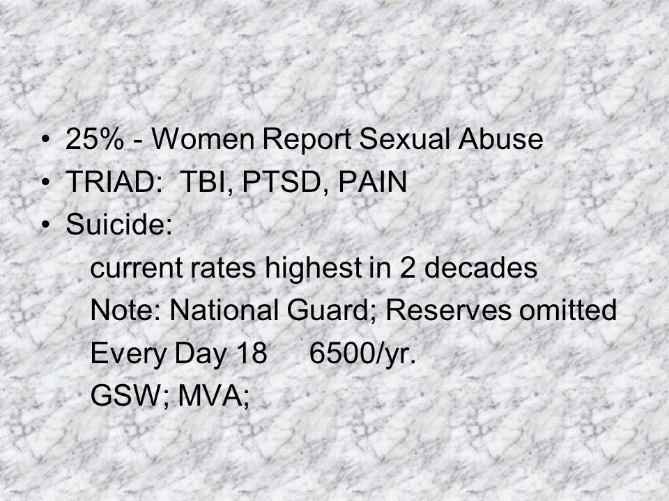 PTSD Psychopharmacology No medication has been found to be successful in fully eliminating PTSD Can manage symptoms Many non-responders or still experiencing significant symptoms Not a long-term answer Symptoms may return when off medication Zoloft and Paxil are FDA approved SSRIs typically first line agent Be careful with Prozac or if agent leads to stimulation Benzodiazepines are contraindicated Patient never learns appropriate ways of handling anxiety and fear In other words benzodiazepines permit avoidance, which maintains anxiety Hinders psychotherapy