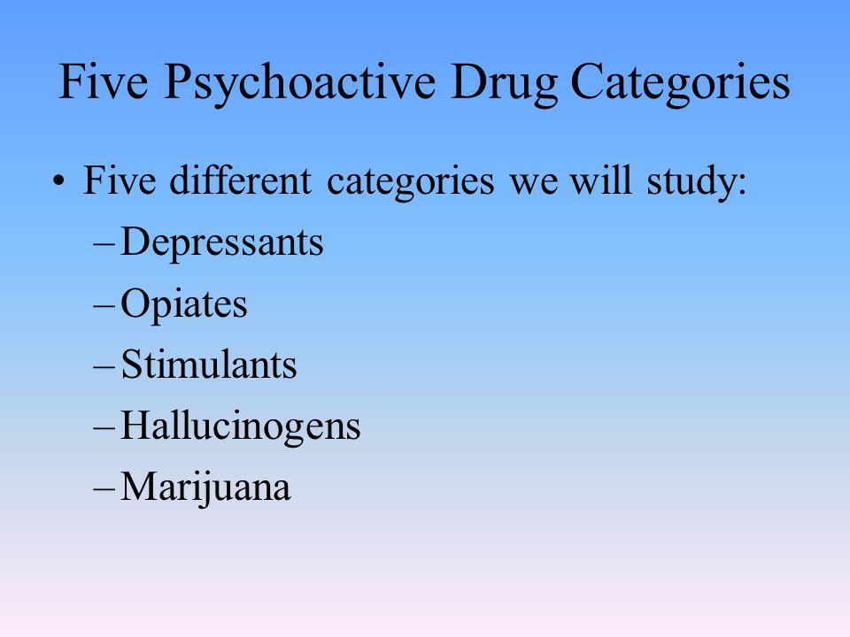 Five Psychoactive Drug Categories Five different categories we will study: –Depressants –Opiates –Stimulants –Hallucinogens –Marijuana