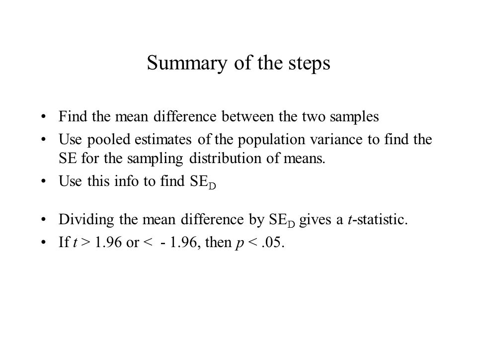 Summary of the steps Find the mean difference between the two samples Use pooled estimates of the population variance to find the SE for the sampling