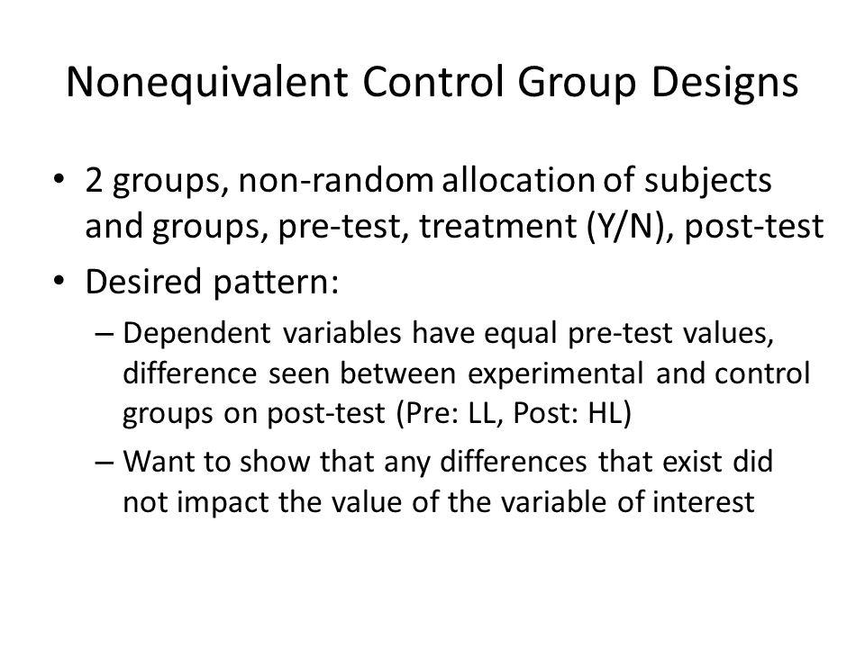 Exercise Interpret the following graphs (experimental, control): – Pre: (L, H) Post: (M, H) – Pre: (L, M) Post: (H, ML) – Pre: (L, M) Post: (H, M)
