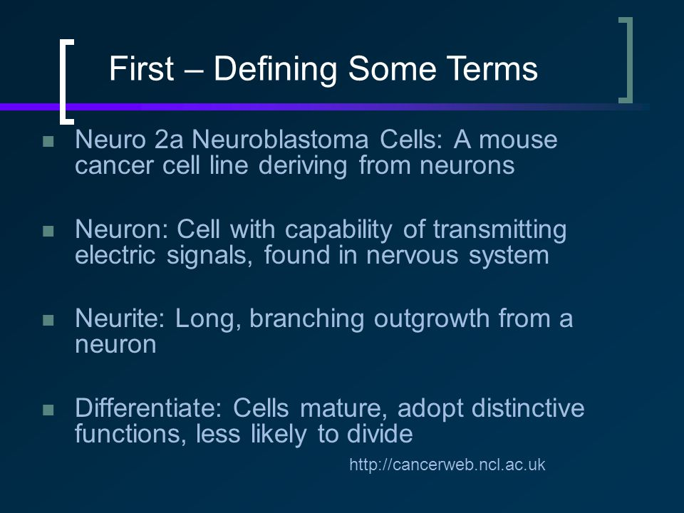 Neuro 2a Neuroblastoma Cells: A mouse cancer cell line deriving from neurons Neuron: Cell with capability of transmitting electric signals, found in nervous system Neurite: Long, branching outgrowth from a neuron Differentiate: Cells mature, adopt distinctive functions, less likely to divide http://cancerweb.ncl.ac.uk First – Defining Some Terms
