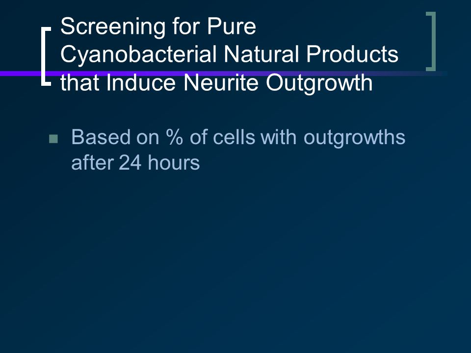 Screening for Pure Cyanobacterial Natural Products that Induce Neurite Outgrowth Based on % of cells with outgrowths after 24 hours