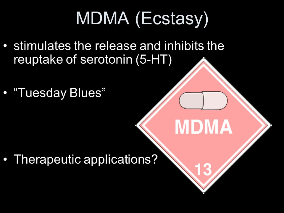 MDMA (Ecstasy) stimulates the release and inhibits the reuptake of serotonin (5-HT) Tuesday Blues Therapeutic applications?