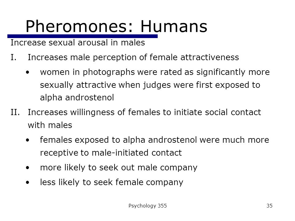 Psychology 35535 Pheromones: Humans Increase sexual arousal in males I.Increases male perception of female attractiveness women in photographs were rated as significantly more sexually attractive when judges were first exposed to alpha androstenol II.Increases willingness of females to initiate social contact with males females exposed to alpha androstenol were much more receptive to male-initiated contact more likely to seek out male company less likely to seek female company