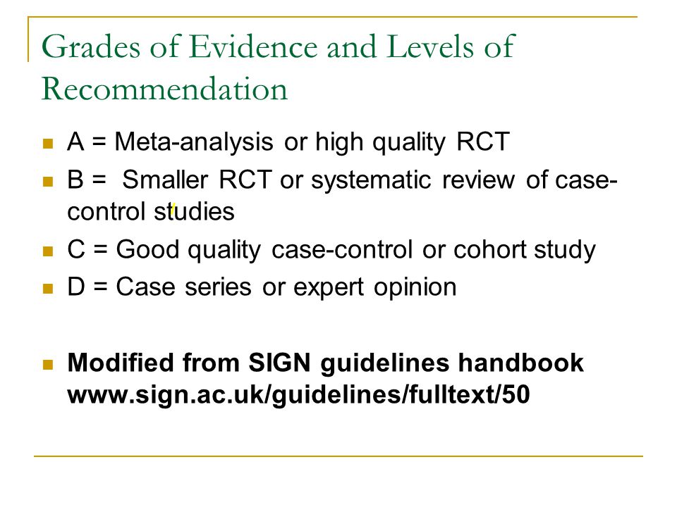Grades of Evidence and Levels of Recommendation A = Meta-analysis or high quality RCT B = Smaller RCT or systematic review of case- control studies C