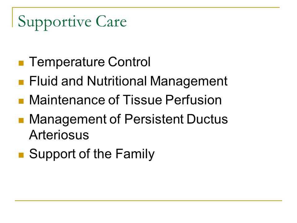 Supportive Care Temperature Control Fluid and Nutritional Management Maintenance of Tissue Perfusion Management of Persistent Ductus Arteriosus Suppor