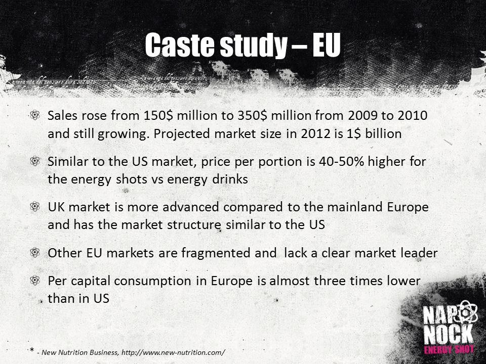Caste study – EU Sales rose from 150$ million to 350$ million from 2009 to 2010 and still growing.